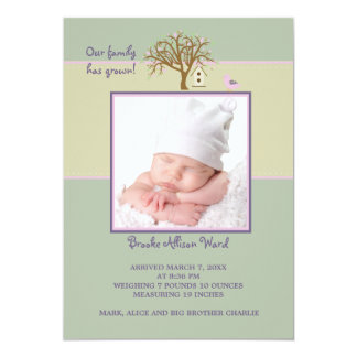Family Tree Pink - Photo Birth Announcement