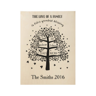 Family Tree with a quote - for family of six Wood Poster