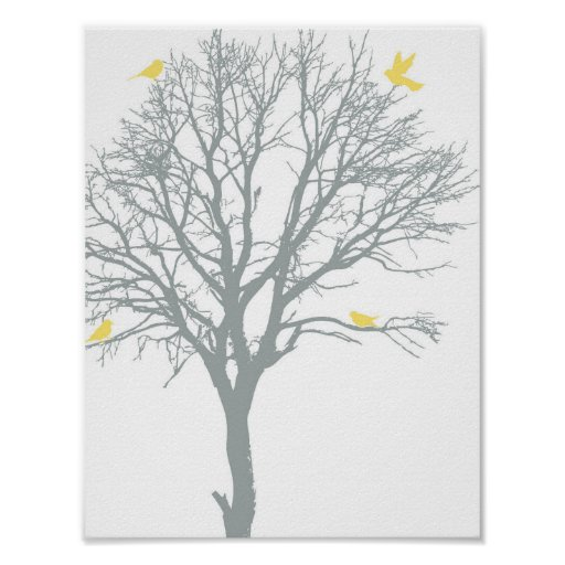 Family Tree with Yellow Birds Poster