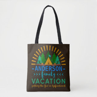 Family Vacation Camping Trip Funny | Custom Name Tote Bag