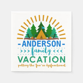 Family Vacation Funny Camping Trip | Custom Name Disposable Serviettes