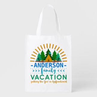 Family Vacation Funny Camping Trip | Custom Name Reusable Grocery Bag