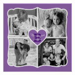 Family Valentine Instagram Heart Photo Grid Purple Poster