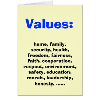 Family Values for Democratics Greeting Card
