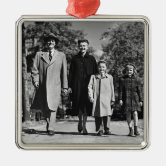 Family Walking Silver-Colored Square Decoration