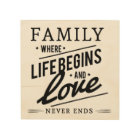 "FAMILY WHERE LIFE BEGINS LOVE NEVER ENDS 8x8"" WOOD Wood Wall Art"