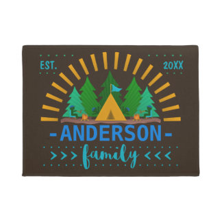 Family Whimsical Camping Theme | Add Name Doormat