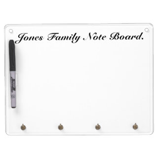 Family White Note Board with Key holder. Dry-Erase Board