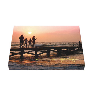 """""""Family"""" Wire Title in Gold Canvas Print"""