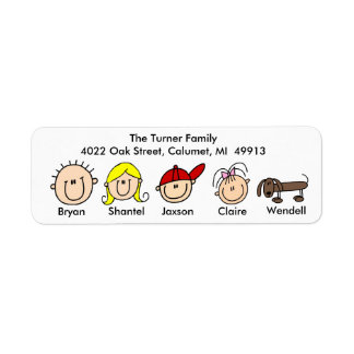 Family With Dog Address Labels
