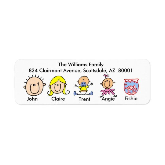 Family With Fish Address Labels