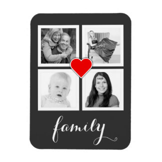 Family with Four Photos and Heart Rectangular Photo Magnet