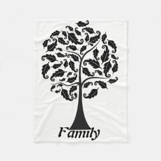 Family with Tree design Fleece Blanket