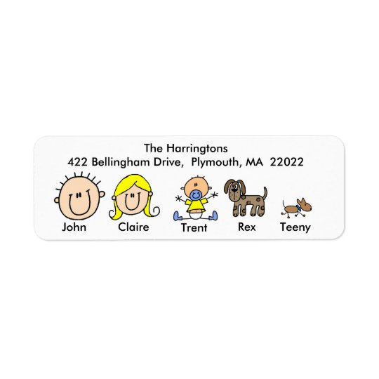 Family With Two Dogs Address Labels