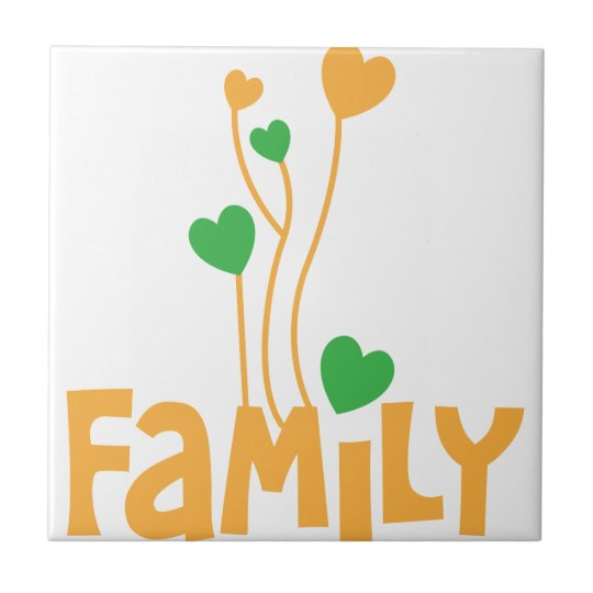 FAMILY words with love heart balloons Small Square Tile