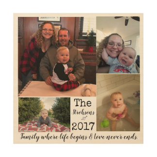 Family Year Photo Collage Wood Print