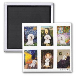 Famous Art Bichon Frise Composite (clear) Square Magnet