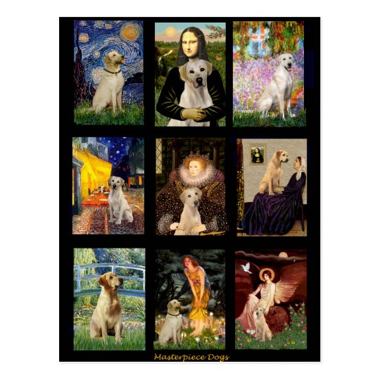Famous Art Yellow Lab Composite Postcard