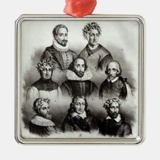 Famous Authors, 1833 Silver-Colored Square Decoration