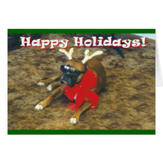 Famous Boxer-Reindeer Greeting Card