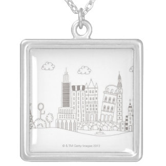 Famous Buildings Silver Plated Necklace