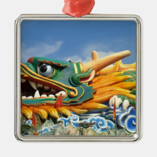 Famous Dragon at Haw Par Villa in Singapore Asia Silver-Colored Square Decoration