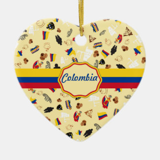 Famous Icons of Colombia with flag banner Ceramic Heart Decoration