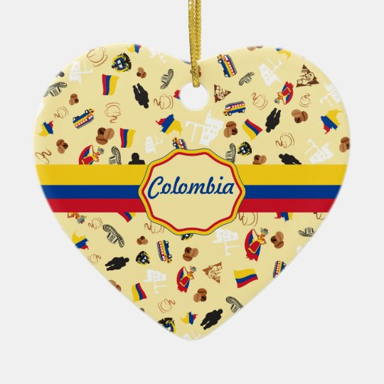 Famous Icons of Colombia with flag banner Christmas