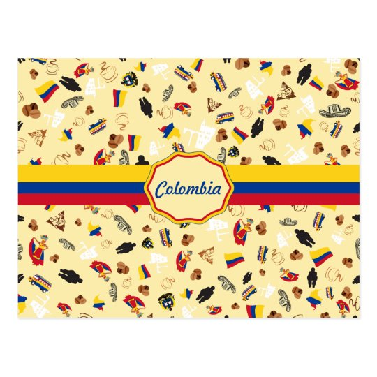 Famous Items of Colombia with flag Postcard