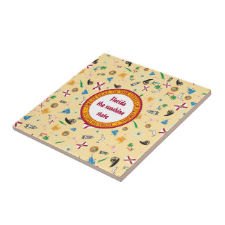 Famous items of the sunshine state: florida state small square tile