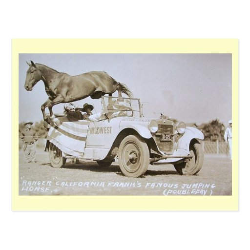 Famous Jumping Horse, Rodeo, California Vintage Post Card