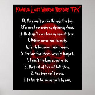 Famous Last Words Before TPK Poster