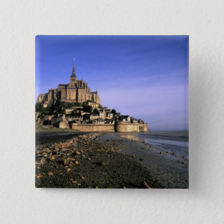 Famous Le Mont St. Michel Island Fortress in 15 Cm Square Badge