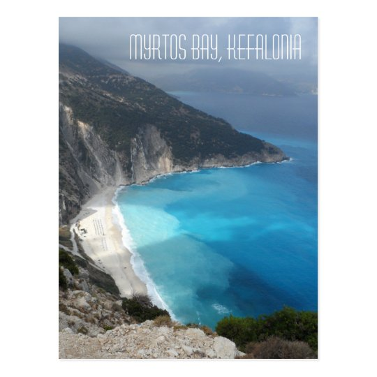 Famous Myrtos Bay Kefalonia Island Greece Postcard