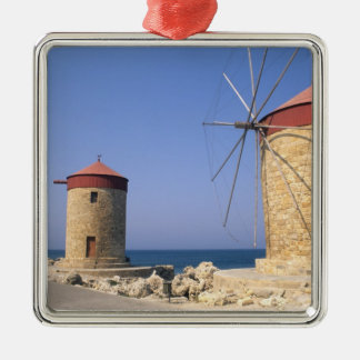 Famous old windmills of Rhodes Greece Silver-Colored Square Decoration