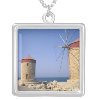 Famous old windmills of Rhodes Greece Silver Plated Necklace
