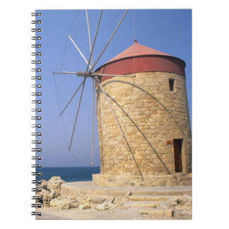 Famous old windmills of Rhodes Greece Spiral Notebook