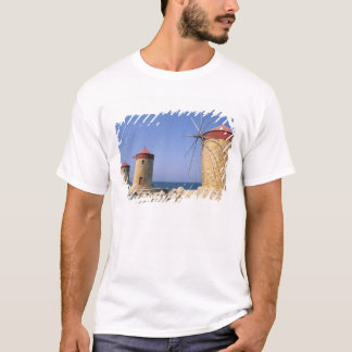 Famous old windmills of Rhodes Greece T-Shirt