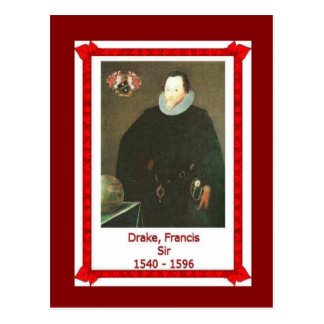 Famous people, Sir Francis Drake, 1540-1596 Postcard