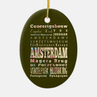 Famous Places of Amsterdam, Netherlands. Christmas Ornament