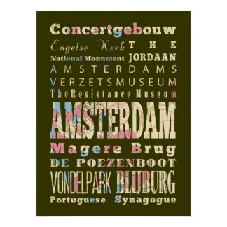 Famous Places of Amsterdam, Netherlands. Poster