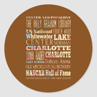 Famous Places of Charlotte, North Carolina. Classic Round Sticker