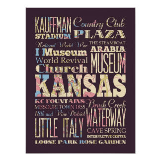 Famous Places of Kansas, United States. Print