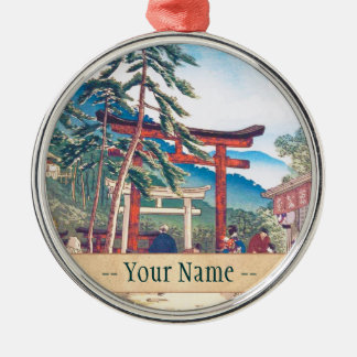Famous Places of Kyoto - Fushimi Inari scenery Silver-Colored Round Decoration