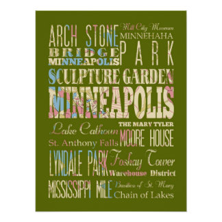 Famous Places of Minneapolis, Minnesota. Posters