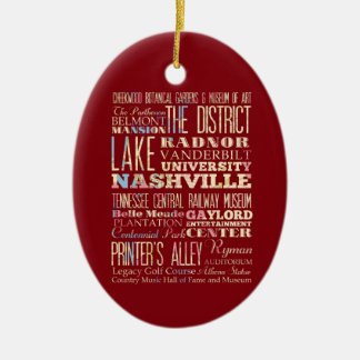 Famous Places of Nashville, Tennessee. Christmas Ornament