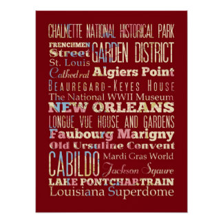 Famous Places of New Orleans, Louisiana. Print