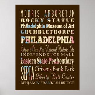 Famous Places of Philadelphia, Pennsylvania. Print