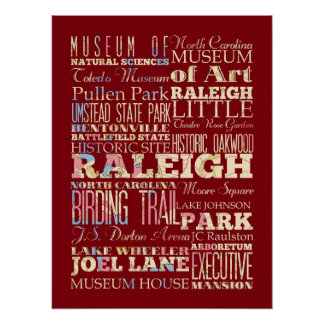Famous Places of Raleigh, North Carolina. Poster
