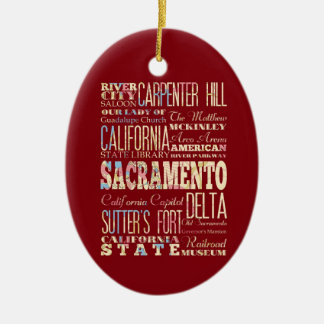 Famous Places of Sacramento, California. Christmas Ornament
